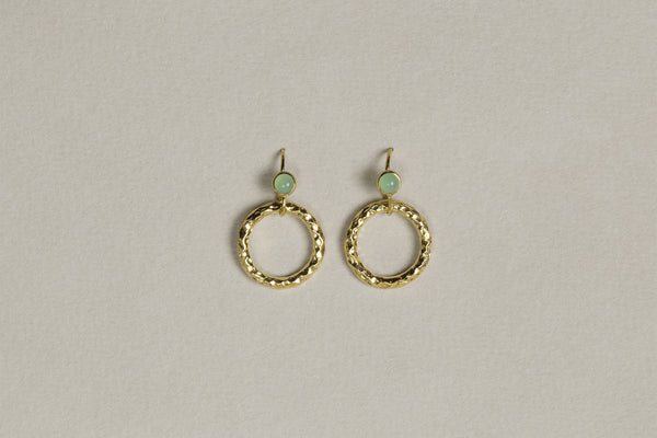 we couldn't resist these textured hoops on hooks with the delicious green bezel set cabochons