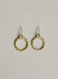 Davina Combe Textured Hoop Drop Earrings with Topaz