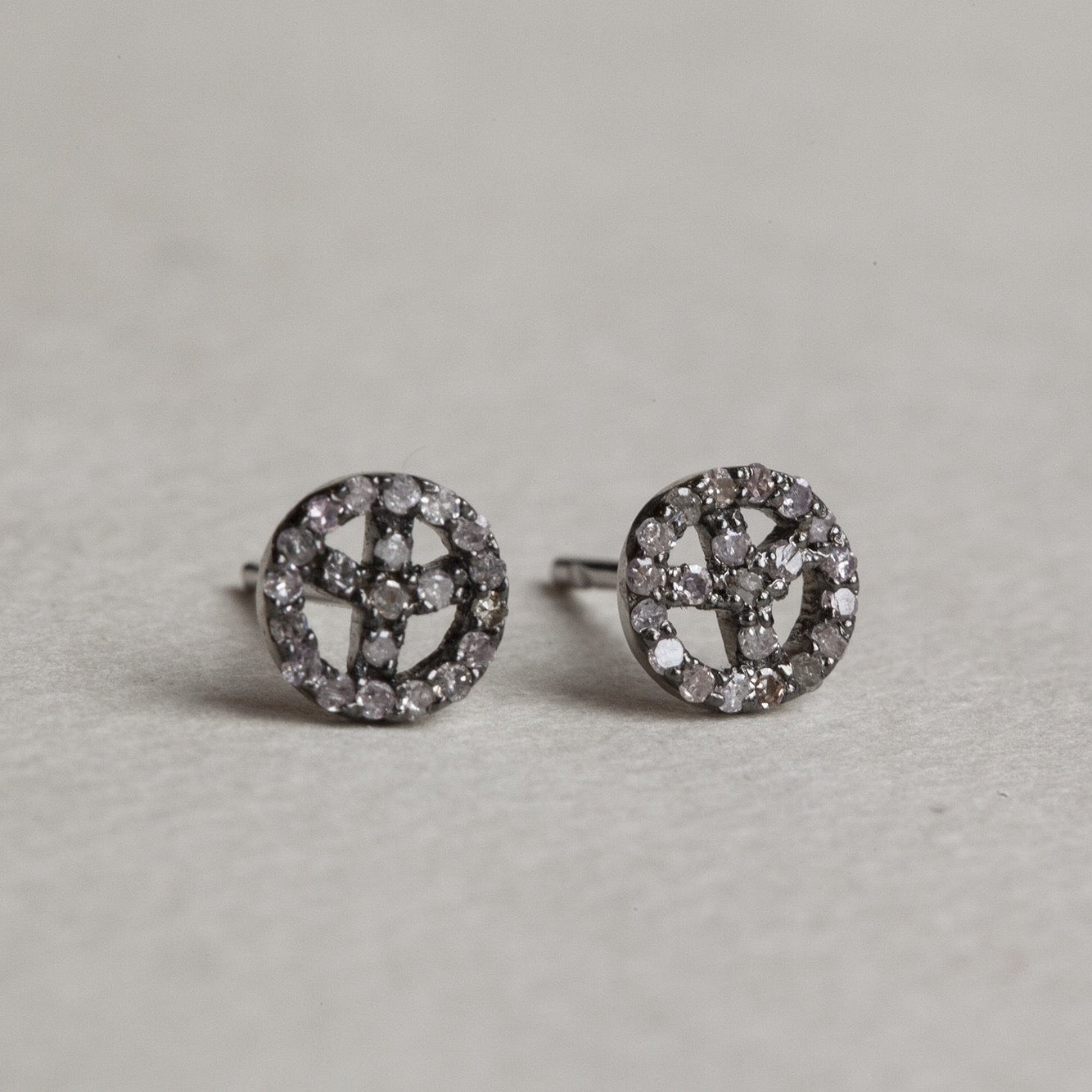 felt Affordable Diamond Range peace stud earrings