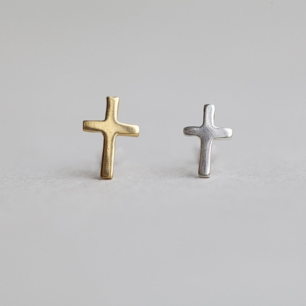 felt simple cross earrings