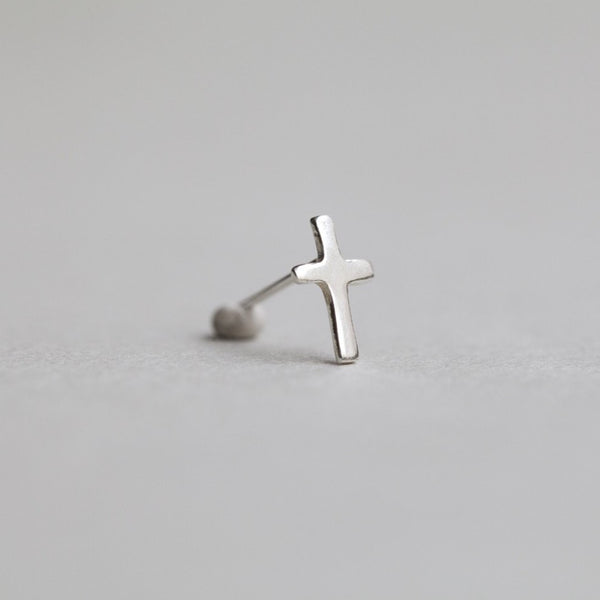 sterling silver simple cross stud