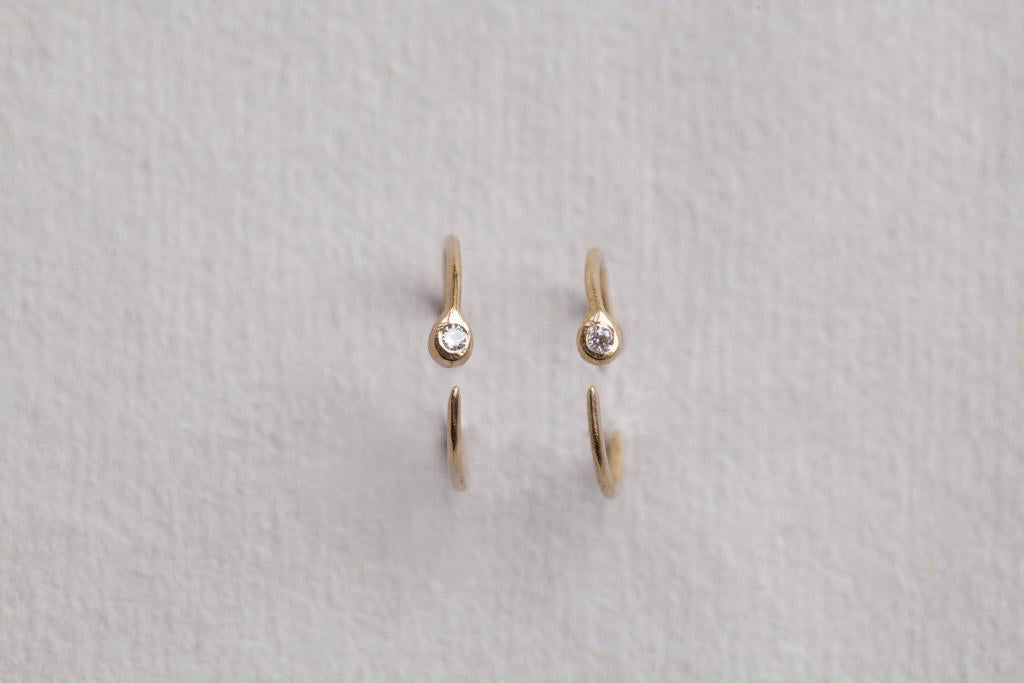 bird's eye view of the diamond blob hoop earrings