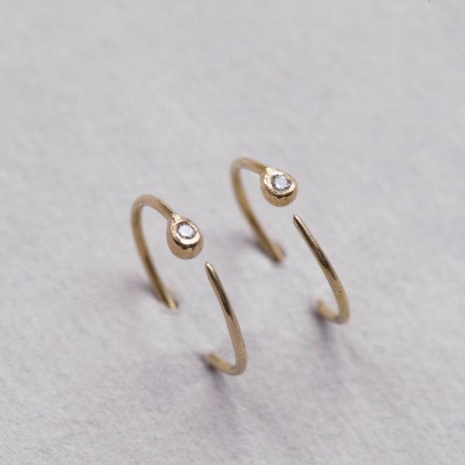 24ct Gold and Diamond Hoop Earrings
