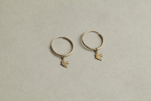 gold plated dickie bird hoops up close