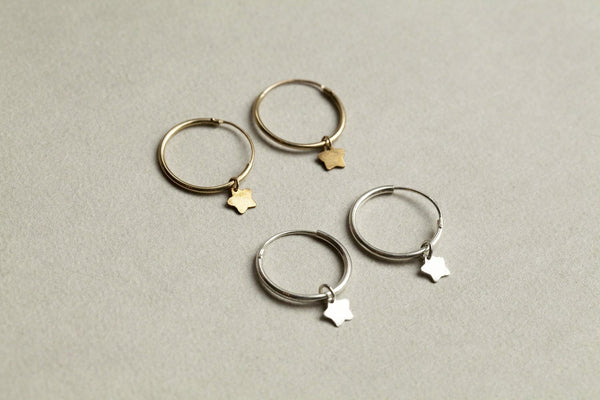 Alice Eden gold plated and silver star hoop earrings
