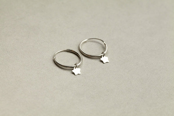 super star hoops in sterling silver