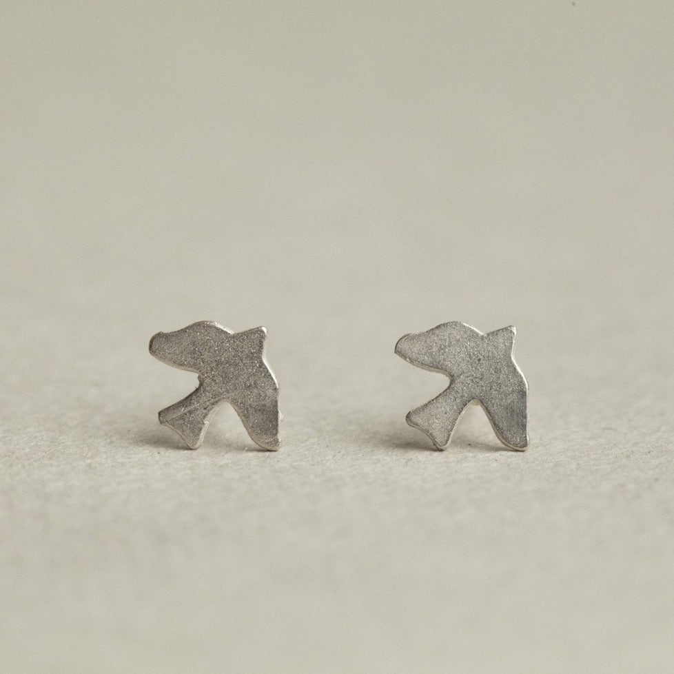 the silver version of the dickie bird stud earrings
