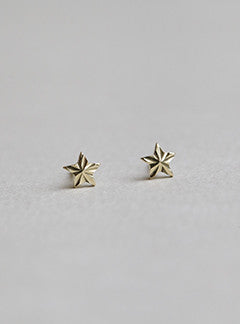 felt 9ct Gold Micro Star Stud Earrings