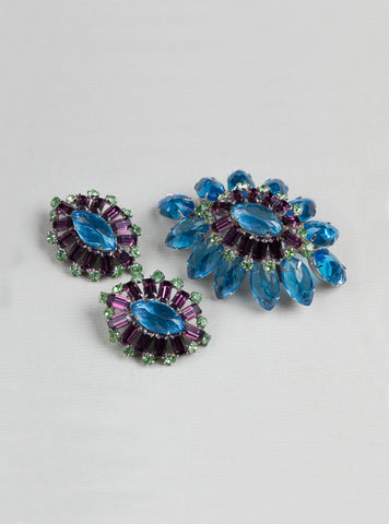 Vintage Rhinestone Brooch and Earrings