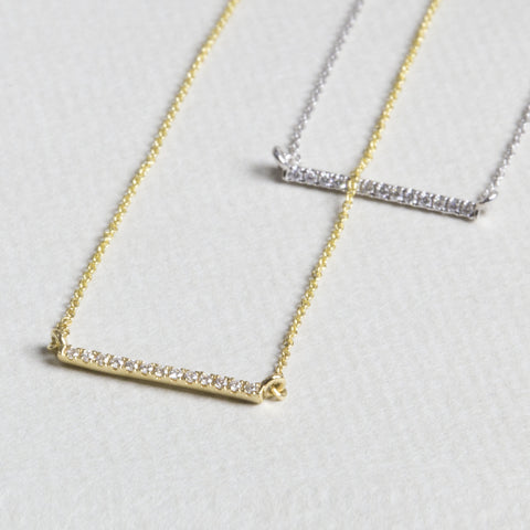 Linear Bar Diamond Necklace