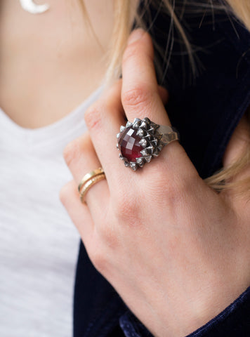 Silver Diamond Ring with Ruby