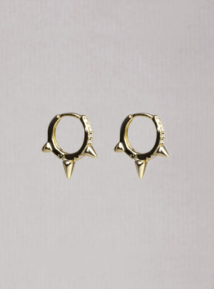 Spiked Hoop Huggies Earrings with Cubic Zirconia