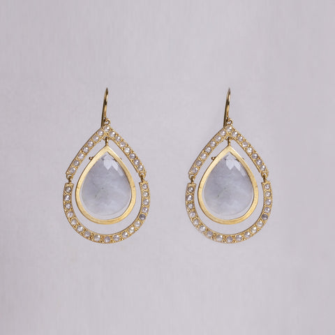 18ct Gold Drop Earrings with Diamonds and Grey Quartz