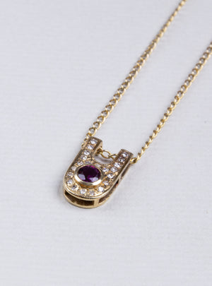 Vintage Gold Pendant Necklace with Ruby and Diamonds