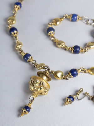 Complete Set of Vintage Costume Gold Necklace, Bracelet and Earrings with Lapis