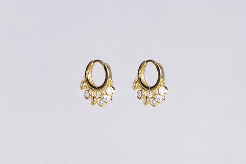 Multi Disc Hoop Earrings with Cubic Zirconia