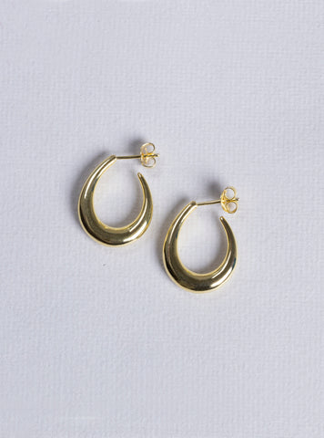 Gold Oval Hoops