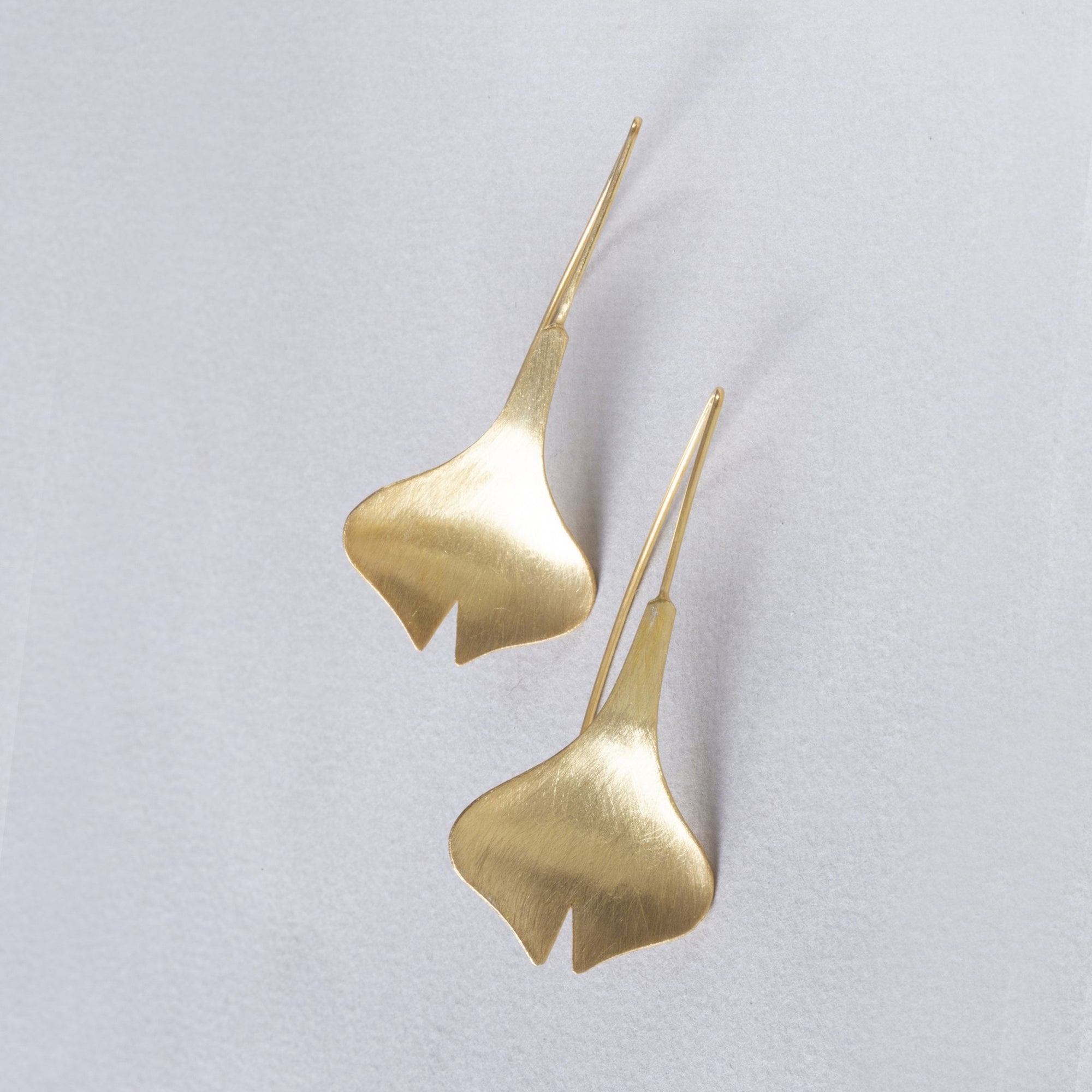 Brushed Gold Tulip Drop Earrings