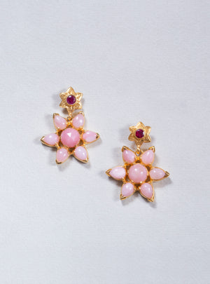 Starburst Pink Opal Ruby Earrings