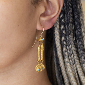 22ct Gold and Turquoise Vintage Fish Drop Earrings
