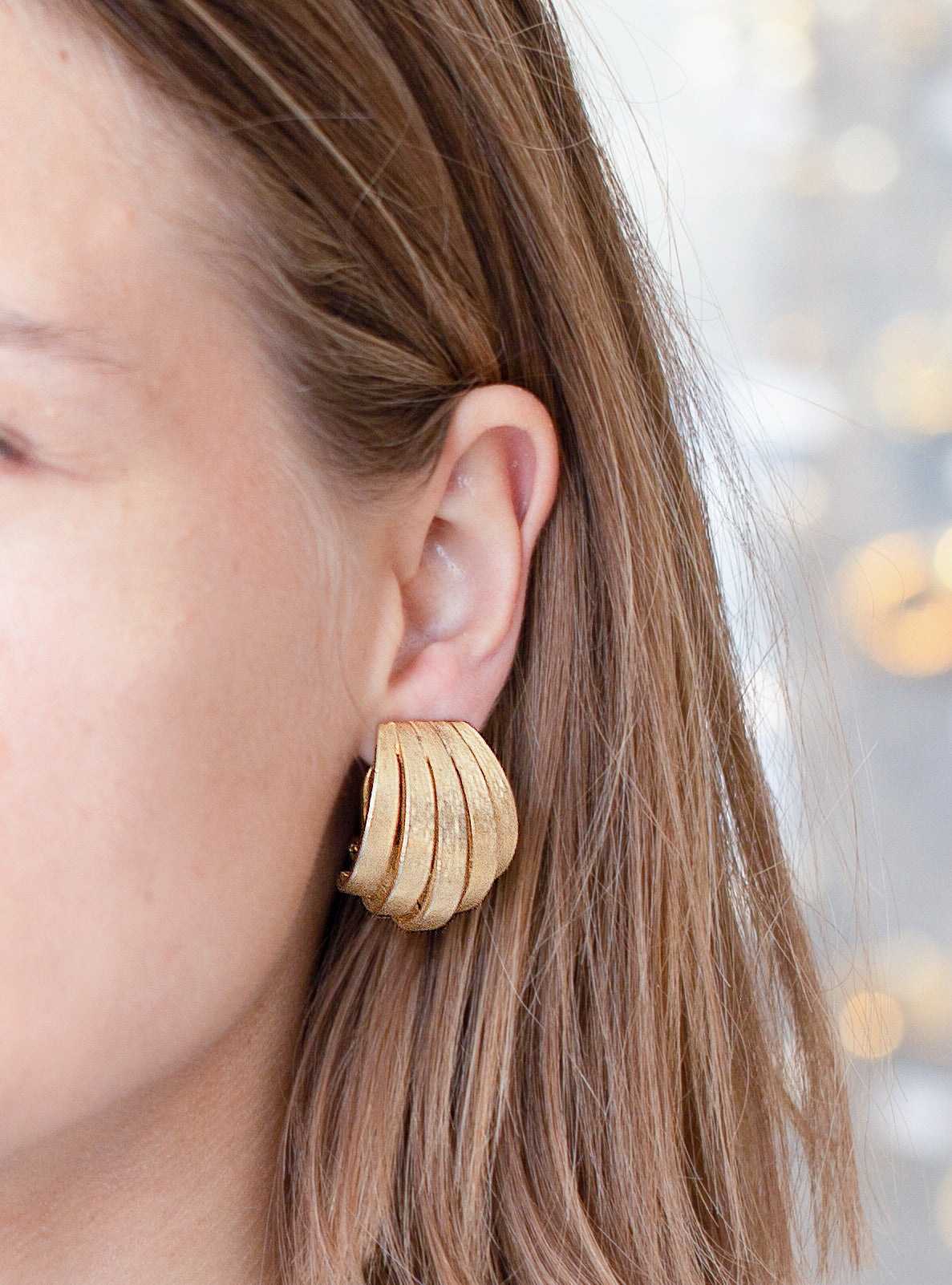 Gold Multiple Strip Clip-on Earrings