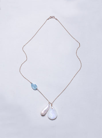 Gold Chain Necklace with Moonstone, Baroque Long Pearl and Aquamarine