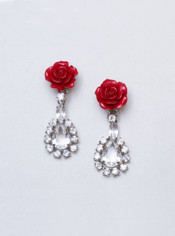 Vintage Rose Clip-on Earrings with Rhinestones
