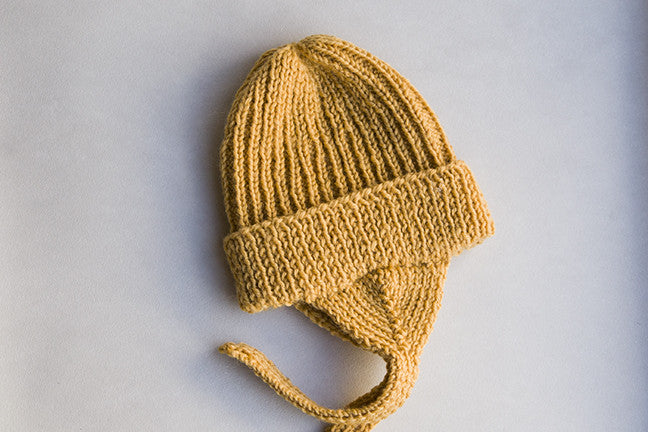 felt Hand Knitted 100% Merino Wool Mulberry Bonnet in Mustard Yellow Portrait