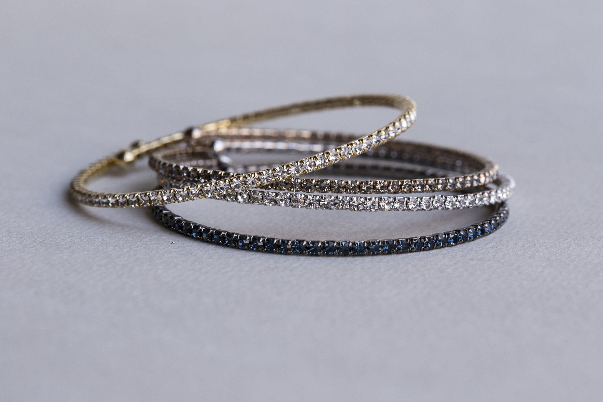 flexible and sparkly diamante bangles - singles ones also available on feltlondon.com