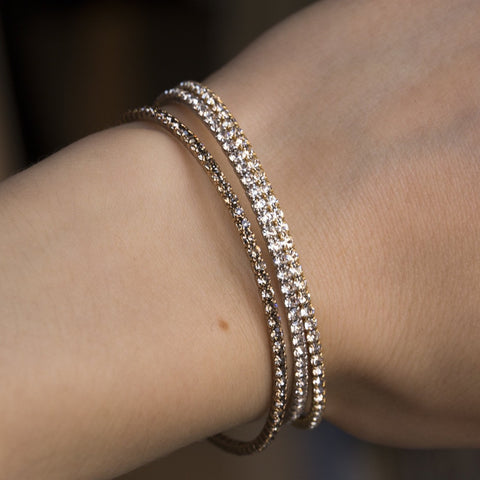 felt flexi diamante bangles stacked on wrist