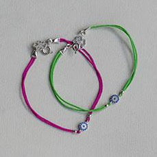 Hot Pink and Grass Green Evil Eye Sterling Silver Bracelets
