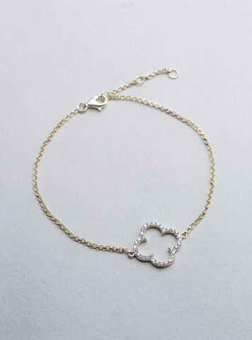 Four Leaf Clover Bracelet with Cubic Zirconia