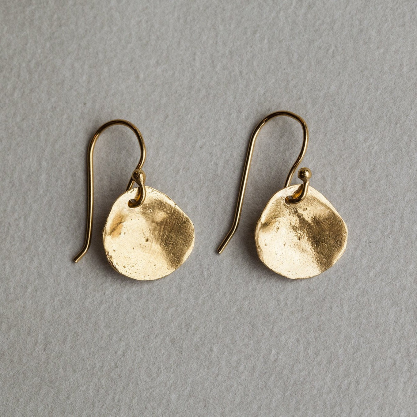Karen Hallam hammered disc gold plated silver earrings