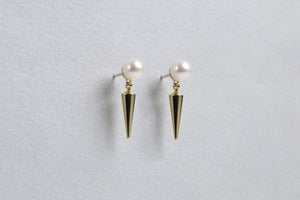 Pearl and Spike Stud Earrings