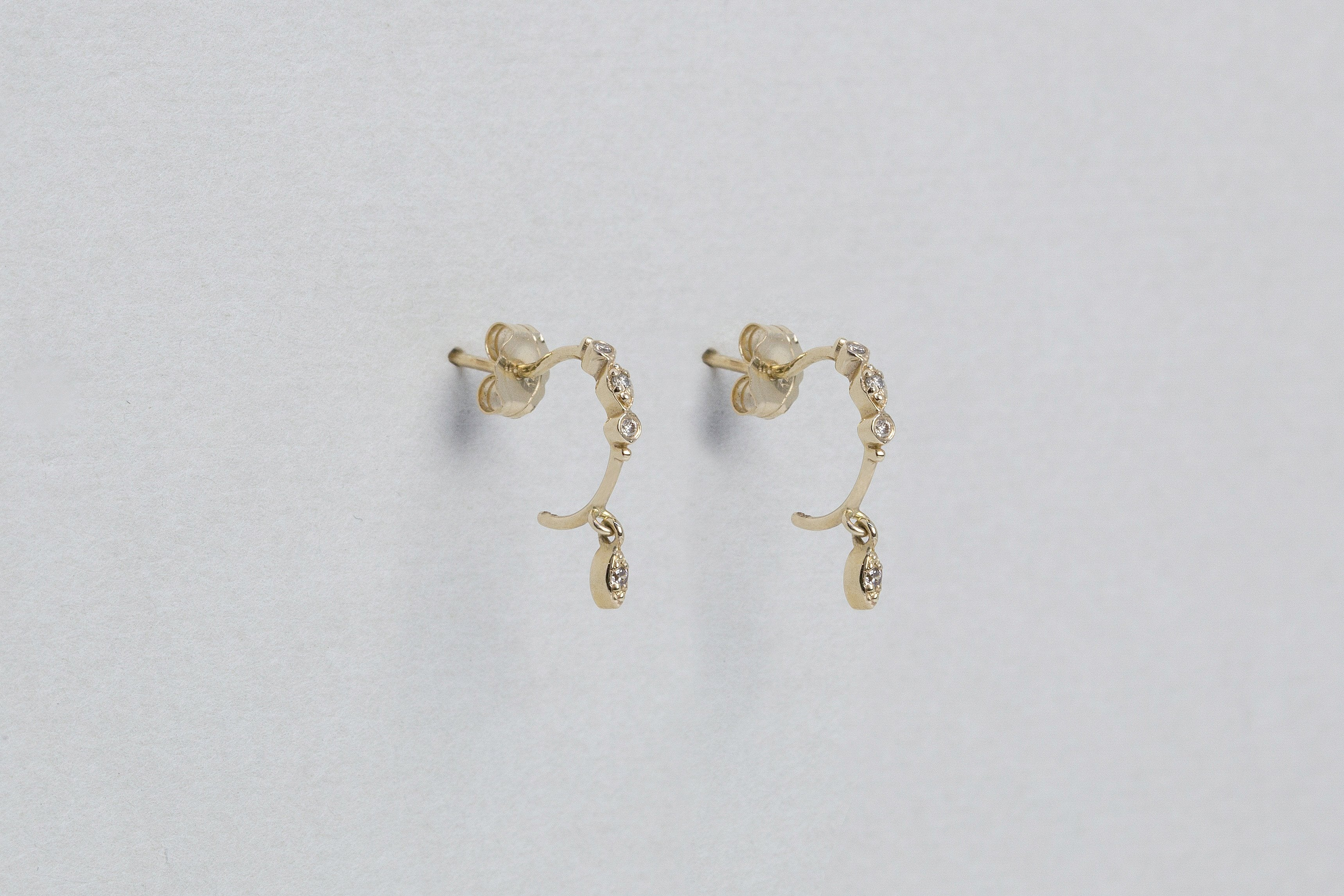 Eye Pendant Diamond Hoop Earrings