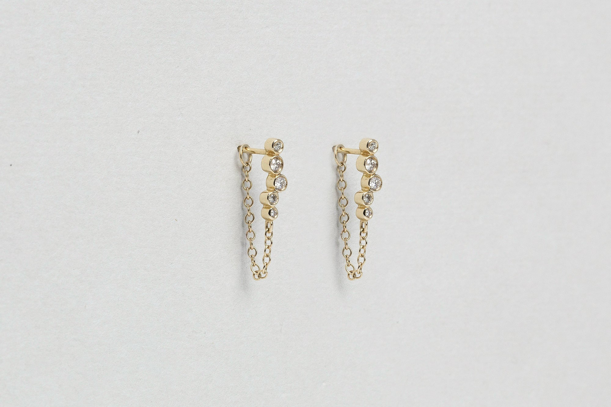 Constellation Gold Chain Diamond Stud Earrings