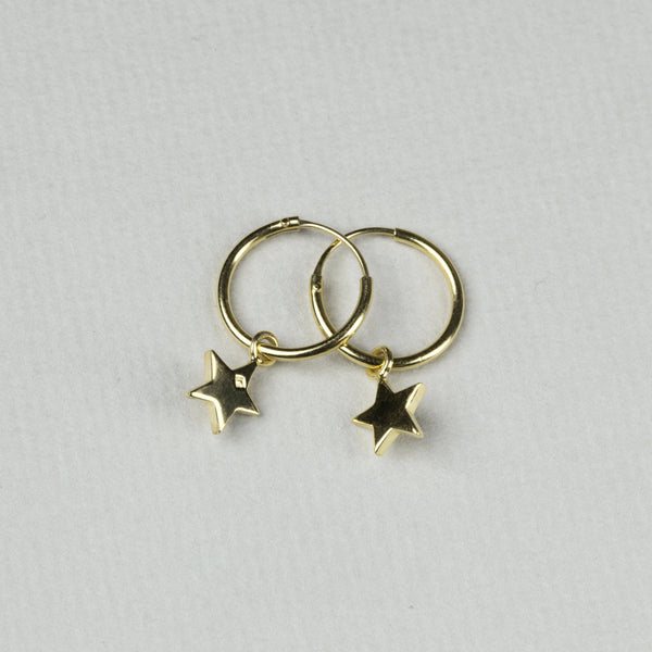 Star Charm Hoop Earrings