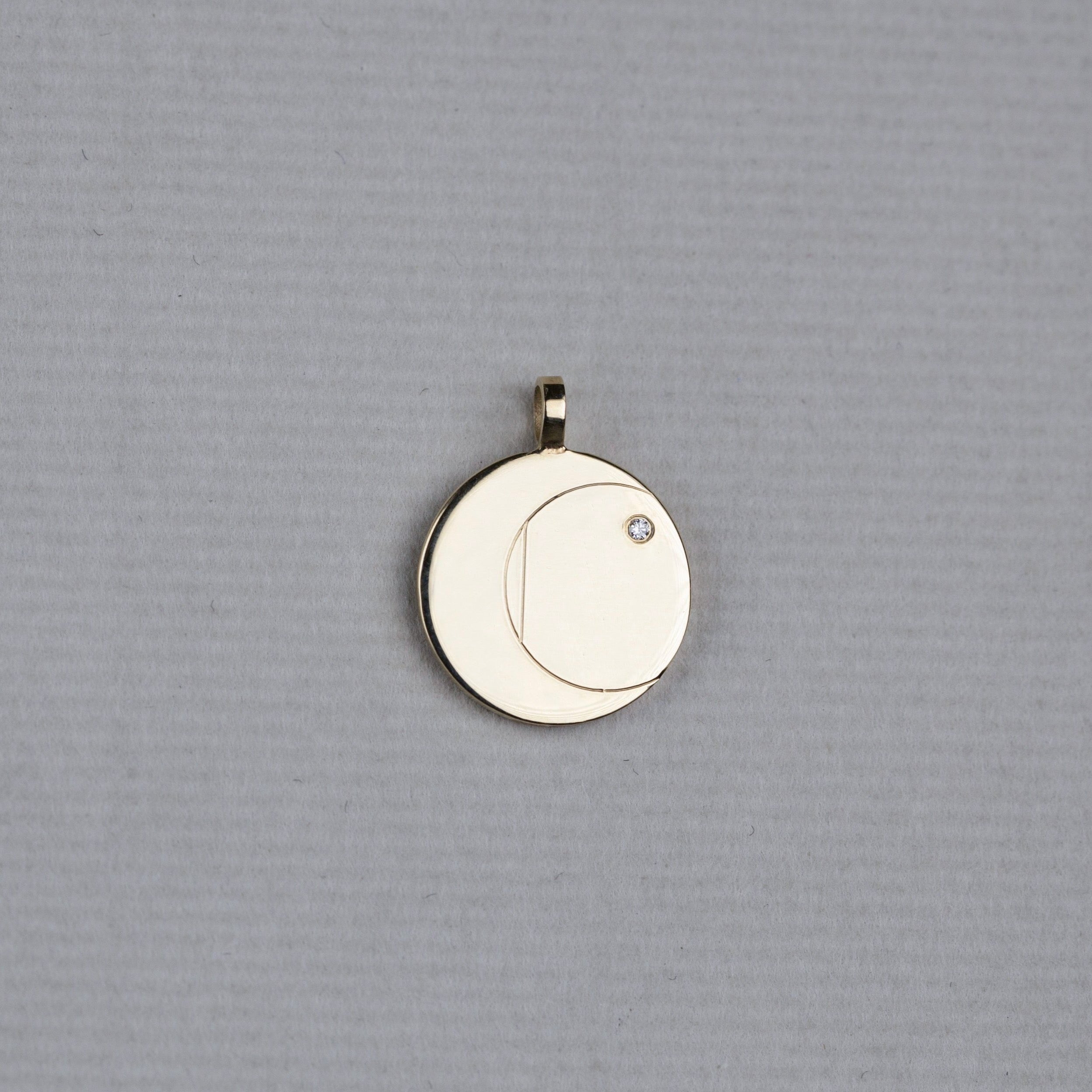 Gold Disc Initial Pendant with Diamond