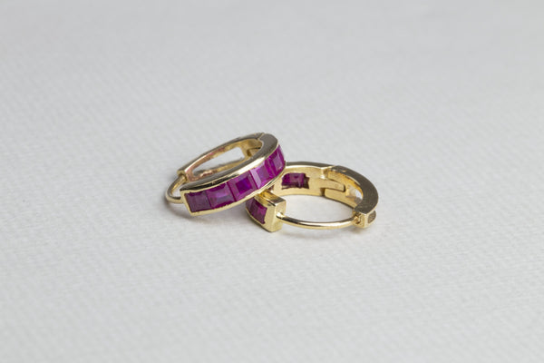 Ruby and Sapphire Gold Hoops