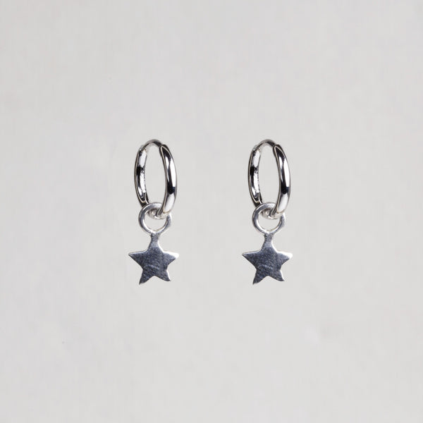 Charmed Hoop Earrings - Stars in Sterling Silver