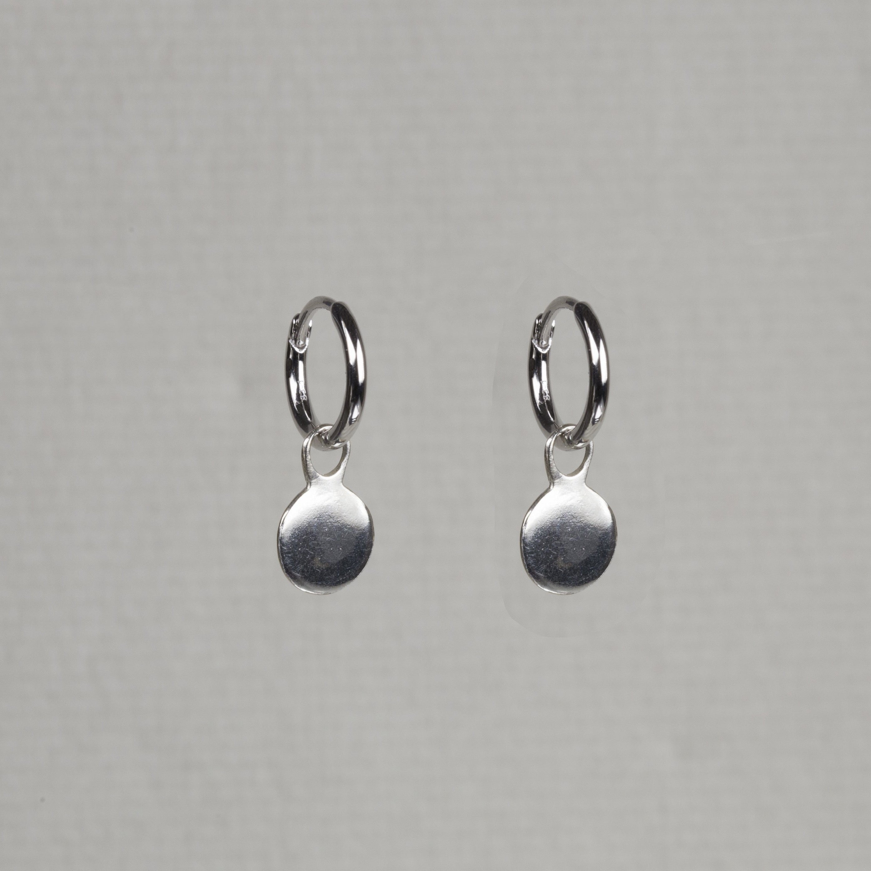 Charmed Hoop Earrings - Disc in sterling silver