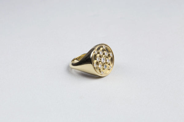 Gold Diamond Signet Ring