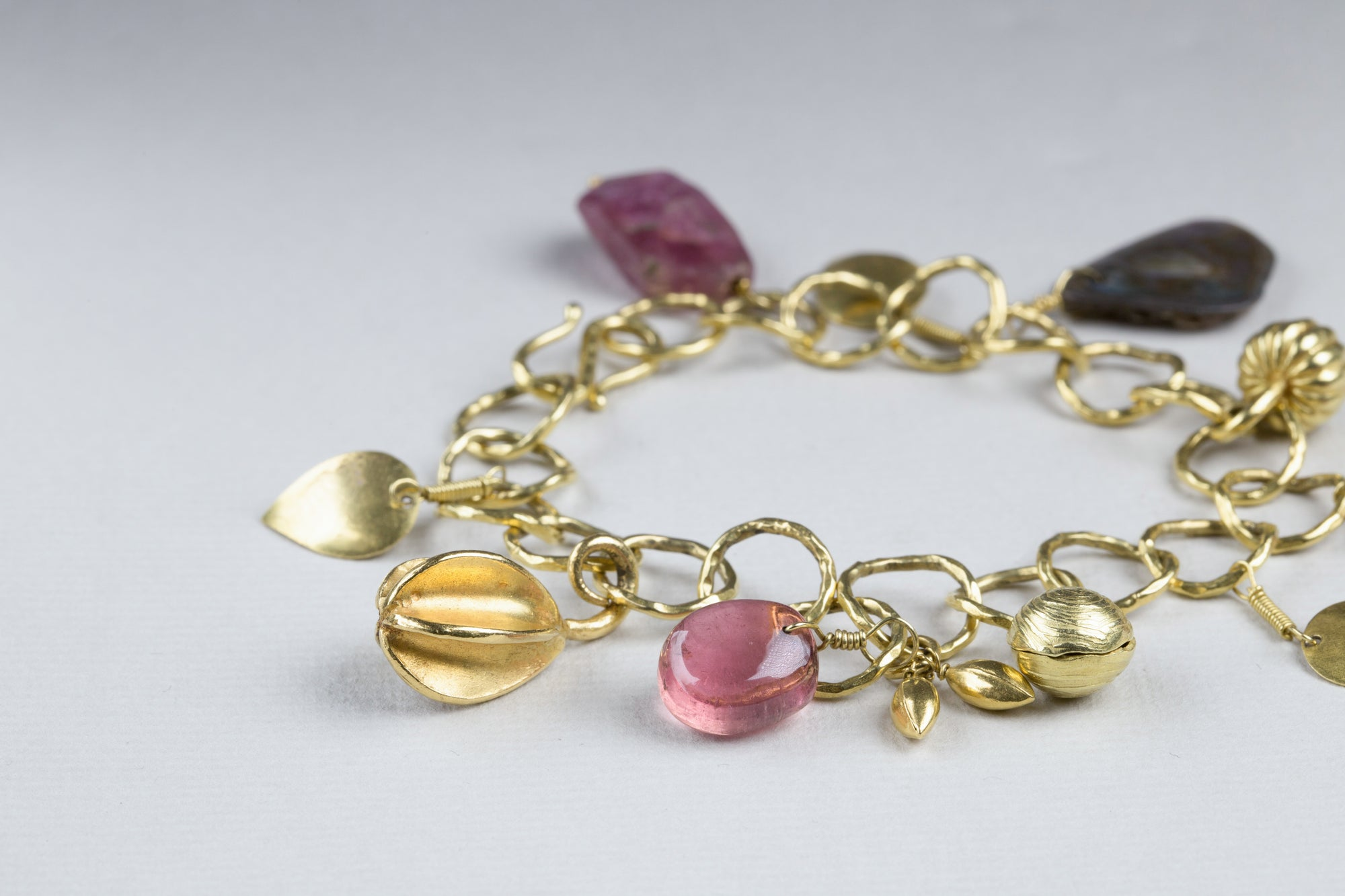 Gold Charm Bracelet with Pink Tourmaline