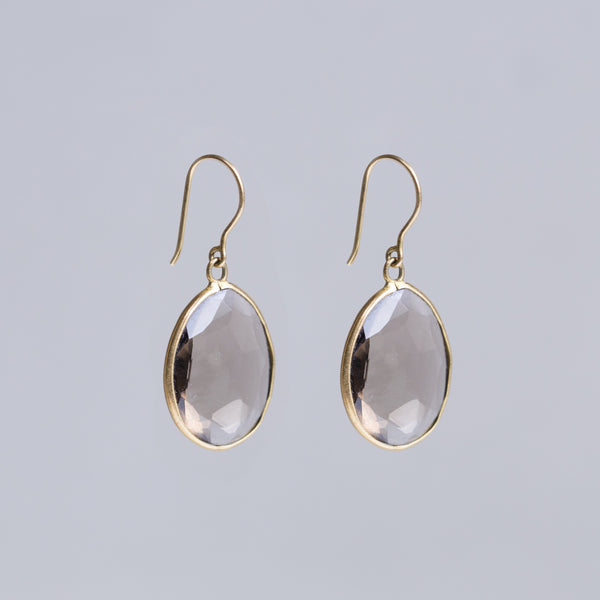 Smokey Quartz Medium Single Drop Earrings