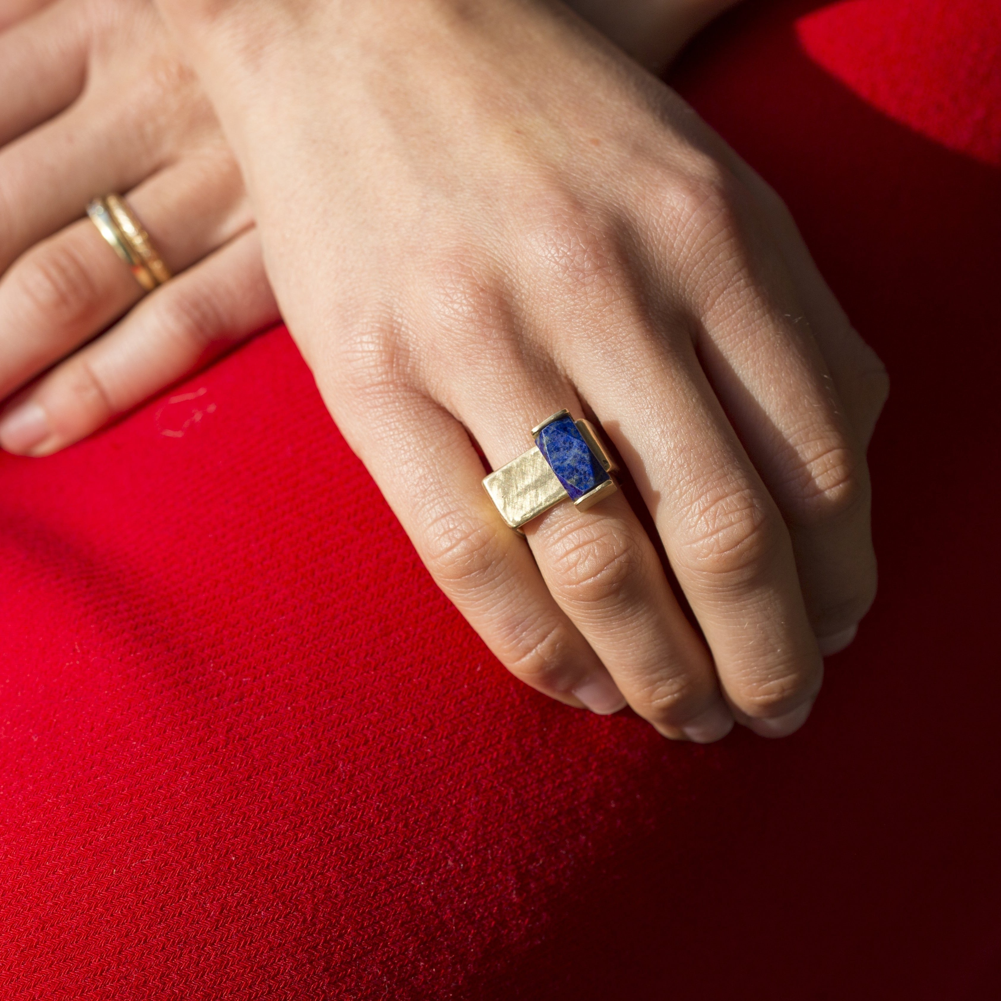 Gold Ring with Lapis Lazuli