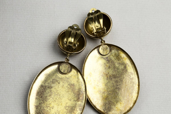 Vintage Joseff of Hollywood Gold Clip-on Drop Earrings