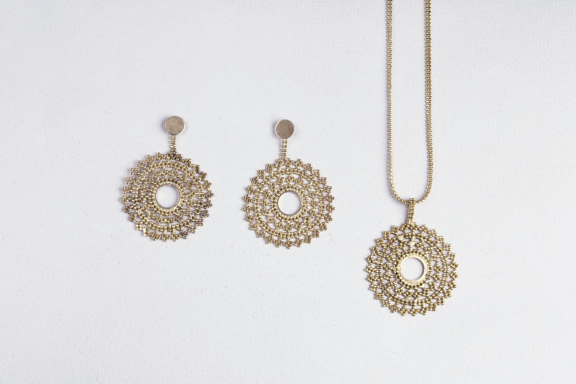 Gold Lace Necklace and Earrings