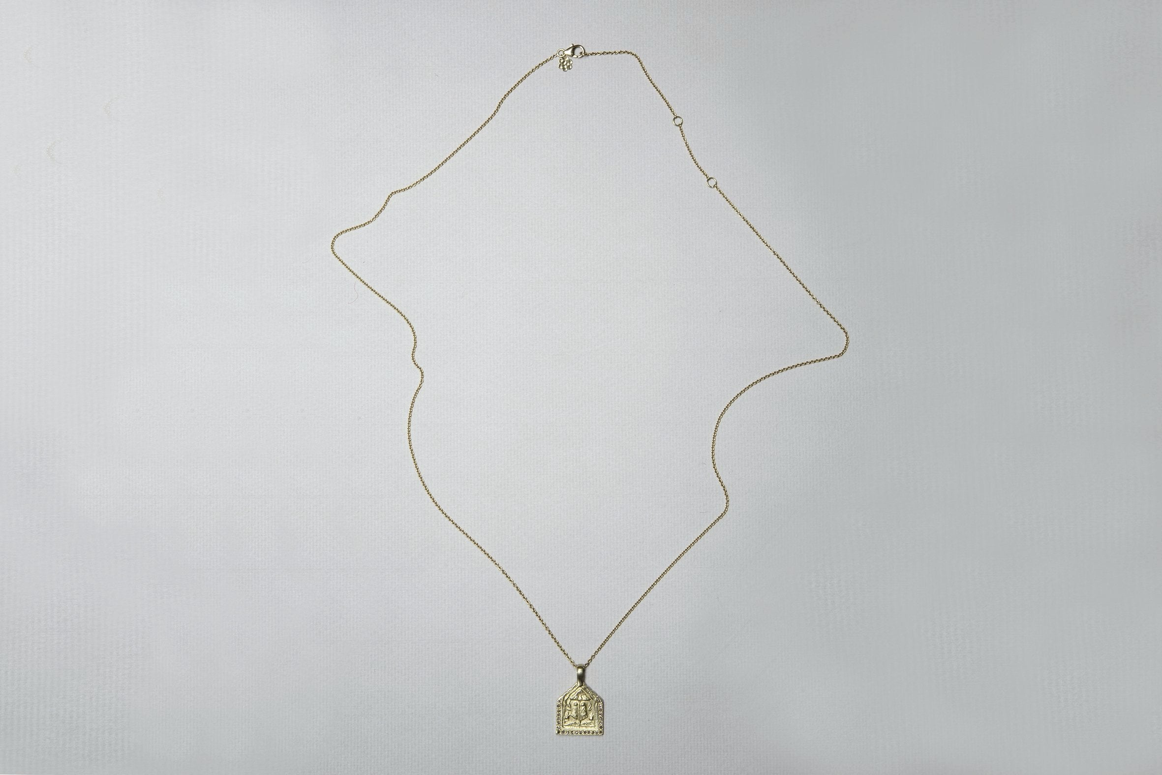 Golden Amulets Necklace with Diamonds