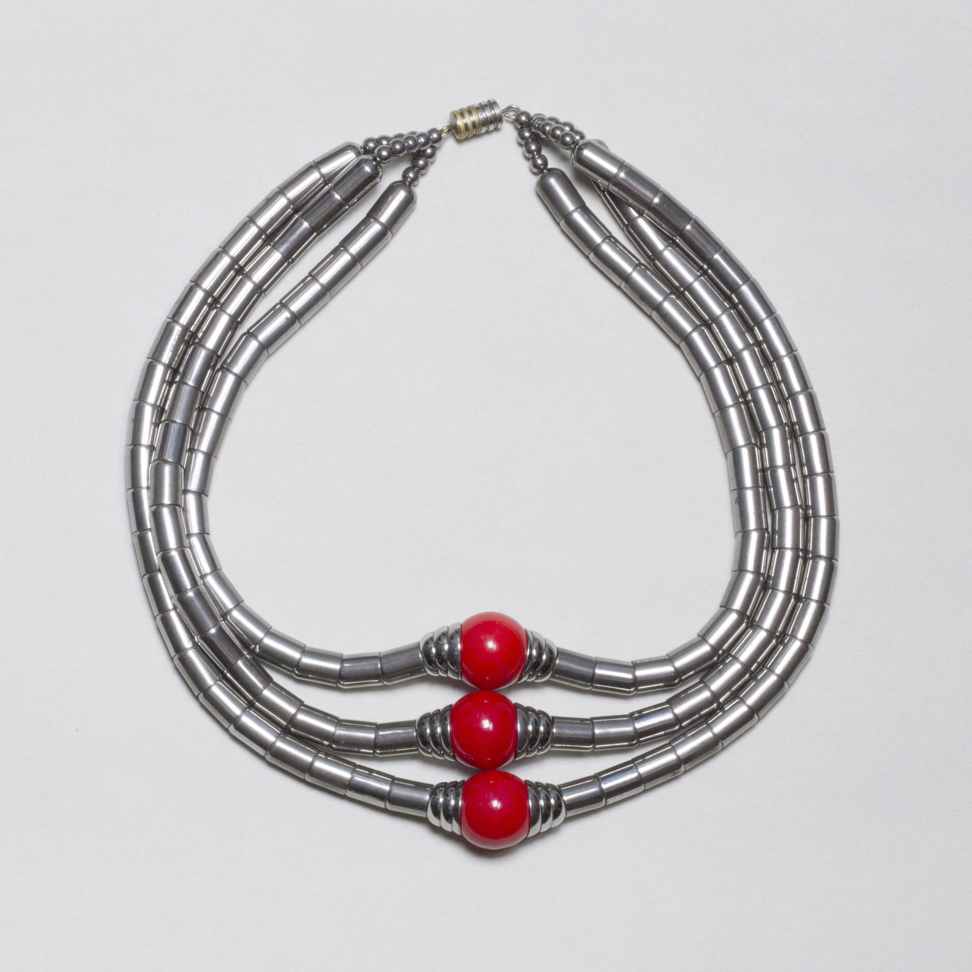 Vintage Chrome and Red Beads Art Deco Necklace