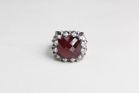 Silver Diamond Ring with Red Garnet